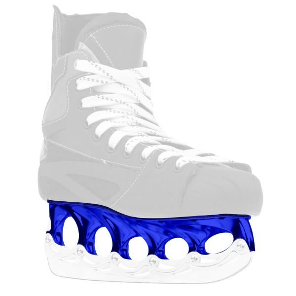 blue t-blade holder on ice skate